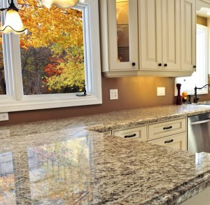 Modern kitchen interior with granite countertop